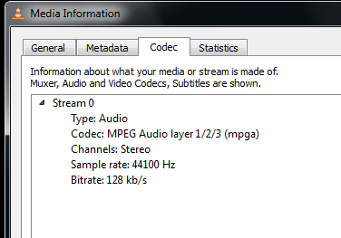 how to tell bitrate of streaming audio