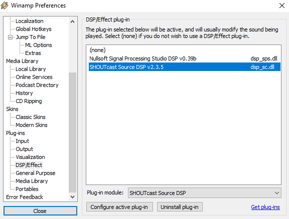 Configuring the 'Shoutcast Source DSP' plugin for Winamp | Internet